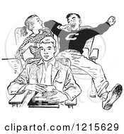 Retro Vector Clipart Of A Vintage Teenage High School Boy Yawning Rudely In Class In Black And White Royalty Free Illustration