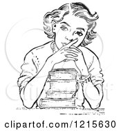 Retro Vector Clipart Of A Vintage Teen High School Girl Thinking Over Books In Black And White Royalty Free Illustration by Picsburg #COLLC1215630-0181