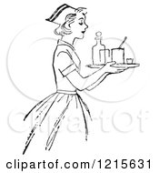 Retro Vector Clipart Of A Vintage Nurse Carrying A Tray With Medicine In Black And White Royalty Free Illustration
