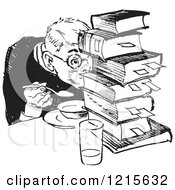 Retro Vector Clipart Of A Vintage Teenage Boy Hiding Behind Books While Eating In Black And White Royalty Free Illustration
