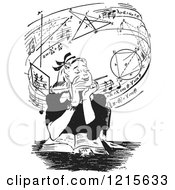 Retro Vector Clipart Of A Vintage Teen Girl Daydreaming Of Music And Mathmatics Over A Book In Black And White Royalty Free Illustration