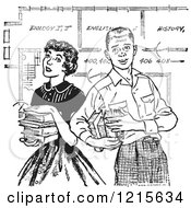 Retro Vector Clipart Of A Vintage Teenage Couple With Books And School Blueprints In Black And White Royalty Free Illustration