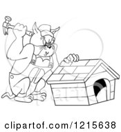 Clipart Of An Outlined Carpenter Bulldog Building A House Royalty Free Vector Illustration by LaffToon