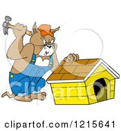 Clipart Of A Carpenter Bulldog Building A House Royalty Free Vector Illustration by LaffToon
