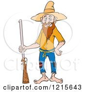 Clipart Of A Hillbilly Man Standing With A Rifle And A Hand On His Hip Royalty Free Vector Illustration by LaffToon