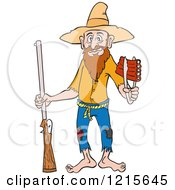 Clipart Of A Hillbilly With A Rifle Holding Ribs With Tongs Royalty Free Vector Illustration by LaffToon