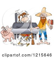 Clipart Of A Hillbilly Man With A Rifle Holding Ribs By A Bbq Smoker With A Cow Chicken And Pig Royalty Free Vector Illustration