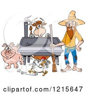 Clipart Of A Hillbilly Man With A Rifle Standing By A Bbq Smoker With A Cow Chicken And Pig Royalty Free Vector Illustration by LaffToon