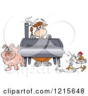 Clipart Of A Cow Pig And Chicken By A Bbq Smoker Royalty Free Vector Illustration by LaffToon