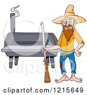 Clipart Of A Hillbilly Man With A Rifle Standing By A Bbq Smoker Royalty Free Vector Illustration by LaffToon