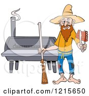 Hillbilly Man With A Rifle Holding Ribs By A Bbq Smoker