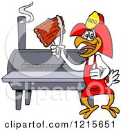 Clipart Of A Bbq Firefighter Chicken Holding Up Ribs By A Smoker Royalty Free Vector Illustration