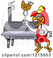 Clipart Of A Bbq Firefighter Chicken Holding Up Roasted Poultry By A Smoker Royalty Free Vector Illustration by LaffToon #COLLC1215653-0065