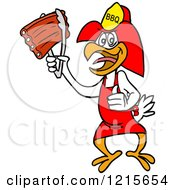 Clipart Of A Bbq Firefighter Chicken Holding Up Ribs With Tongs Royalty Free Vector Illustration