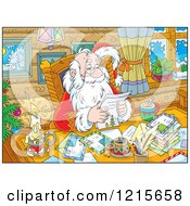 Clipart Of Santa Smiling While Reading Letters By A Candle Royalty Free Vector Illustration by Alex Bannykh