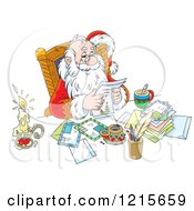 Clipart Of Santa Smiling While Reading Letters Royalty Free Vector Illustration