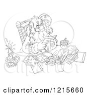 Clipart Of An Outlined Santa Smiling While Reading Letters Royalty Free Vector Illustration by Alex Bannykh
