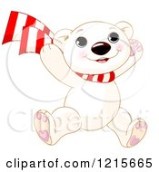 Clipart Of A Cute Happy Polar Bear Cub Wearing A Scarf And Jumping Royalty Free Vector Illustration