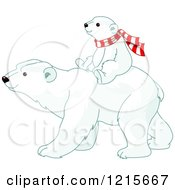 Poster, Art Print Of Cute Polar Bear Cub Wearing A Scarf And Riding On Its Moms Back