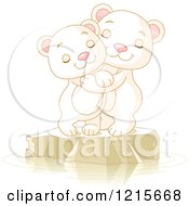Clipart Of Cute Polar Bear Cubs Hugging On Floating Ice Royalty Free Vector Illustration