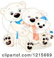 Clipart Of A Cute Hugging Polar Bear Family Wearing Scarves Royalty Free Vector Illustration
