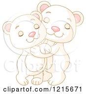 Clipart Of Cute Polar Bear Cubs Hugging Royalty Free Vector Illustration