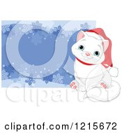 Clipart Of A Cute White Christmas Cat Wearing A Santa Hat By A Snowflake Border Royalty Free Vector Illustration