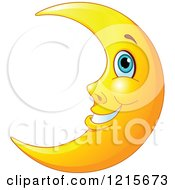 Clipart Of A Happy Blue Eyed Crescent Moon Royalty Free Vector Illustration