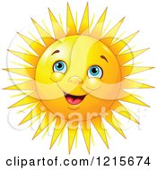 Clipart Of A Happy Blue Eyed Sun With Bunched Up Cheeks Royalty Free Vector Illustration by Pushkin