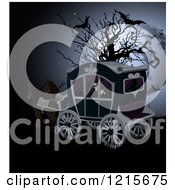 Clipart Of A Grim Reaper Riding In A Horse Drawn Carriage By A Bare Tree With Bats And A Full Moon Royalty Free Vector Illustration by Pushkin