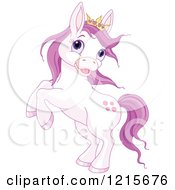 Clipart Of A Cute Purple Princess Pony Rearing Royalty Free Vector Illustration