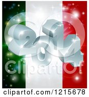 Clipart Of A 3d 2014 And Fireworks Over An Italy Flag Royalty Free Vector Illustration