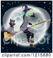 Clipart Of A Green Halloween Witch Flying With A Cat On A Broomstick Against A Full Moon Royalty Free Vector Illustration