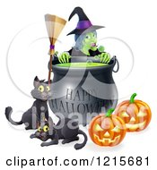 Clipart Of A Witch Behind A Boiling Happy Halloween Cauldron With A Broomstick Black Cats And Jackolanterns Royalty Free Vector Illustration by AtStockIllustration