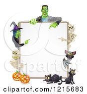 Clipart Of A Witch Skeleton Mummy Bat And Frankenstein Pointing To A White Board Sign Over Pumpkins And Black Cats Royalty Free Vector Illustration by AtStockIllustration