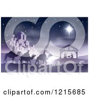 Clipart Of A Purple Nativity Scene Of Baby Jesus In The Manger With The Wise Men And Star Of Bethlehem Near The City Royalty Free Vector Illustration