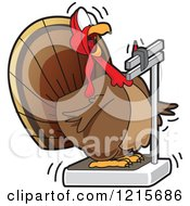 Clipart Of A Fat Turkey Bird Looking Shocked At Its Weight On A Scale Royalty Free Vector Illustration