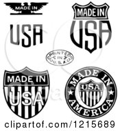 Clipart Of Black And White Patriotic Made And Printed In USA Designs Royalty Free Vector Illustration by BestVector