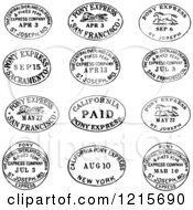 Clipart Of Black And White Date And Location Postmarks Royalty Free Vector Illustration by BestVector