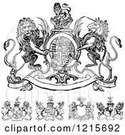 Clipart Of Black And White Heraldic Crests Royalty Free Vector Illustration by BestVector