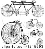 Clipart Of Vintage Black And White Bicycles Royalty Free Vector Illustration