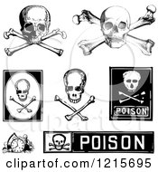 Clipart Of Black And White Poison And Skull Designs Royalty Free Vector Illustration