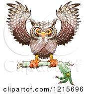 Clipart Of A Halloween Owl Flying With A Severed Witch Arm Royalty Free Vector Illustration by Zooco