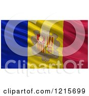 Clipart Of A 3d Waving Flag Of Andorra With Rippled Fabric Royalty Free Illustration