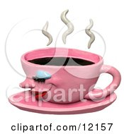 Clay Sculpture Clipart Steamy Pink Coffee Cup Royalty Free 3d Illustration