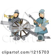 Clipart Of Civil War Soldiers Holding A Rifle And Playing A Bugle Horn Beside A Cannon On The Battlefield Royalty Free Vector Illustration