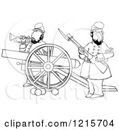 Clipart Of Outlined Civil War Soldiers Holding A Rifle And Playing A Bugle Horn Beside A Cannon On The Battlefield Royalty Free Vector Illustration