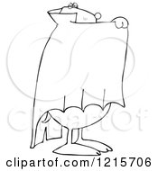 Clipart Of An Outlined Halloween Dog Hiding Behind A Cape In A Vampire Dracula Costume Royalty Free Vector Illustration