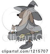 Clipart Of A Halloween Dog Trick Or Treating In A Witch Costume Royalty Free Vector Illustration