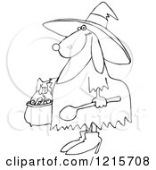 Clipart Of An Outlined Halloween Dog Trick Or Treating In A Witch Costume Royalty Free Vector Illustration